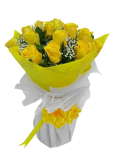 Yellow Shiny hand tied
