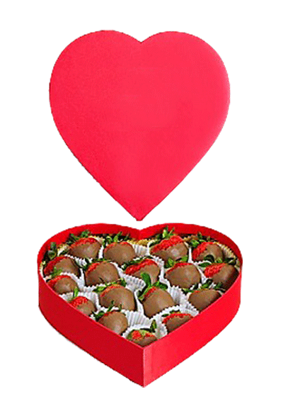 heart box strawberries