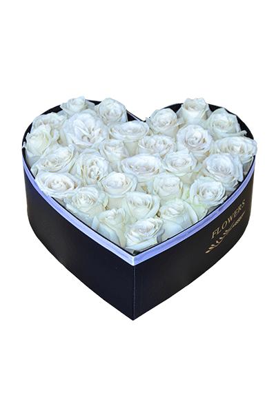 White Roses In Heart