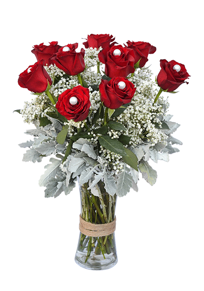 9 Roses In Vase