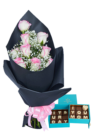 flowers and chocolates for mom