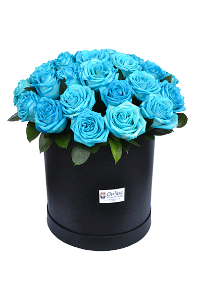 blue roses in the box