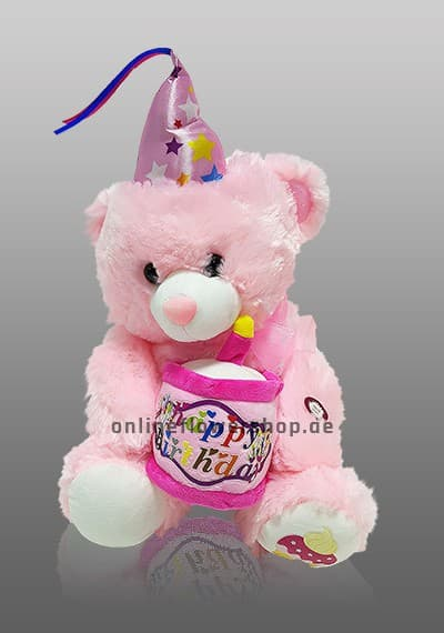Singing Happy Birthday Pink Teddy