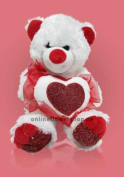 White and Red Love Teddy