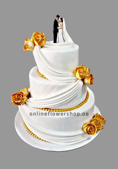3 Layer Wedding Statuette Brunette Cake