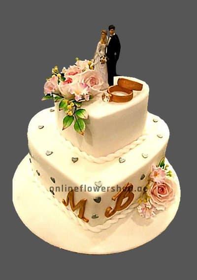 2 level Wedding Statuette Blonde Cake