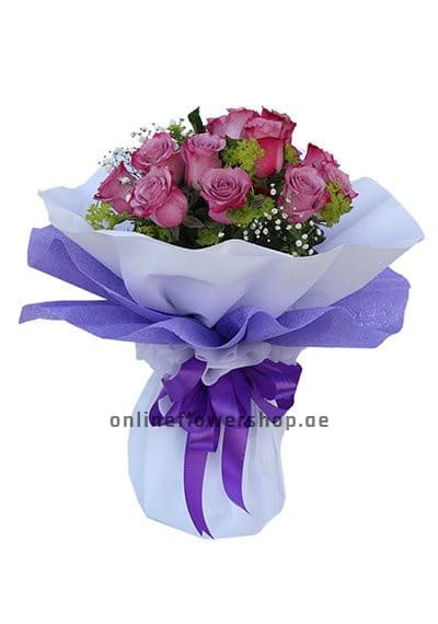 Joyful Dozen Lavender Roses