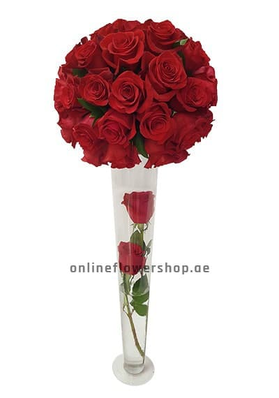 50 Red Rose in Long Vase