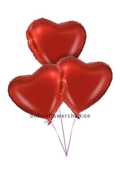 3 Red Heart Balloon