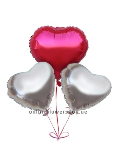 Silver Red Heart Balloon Pack