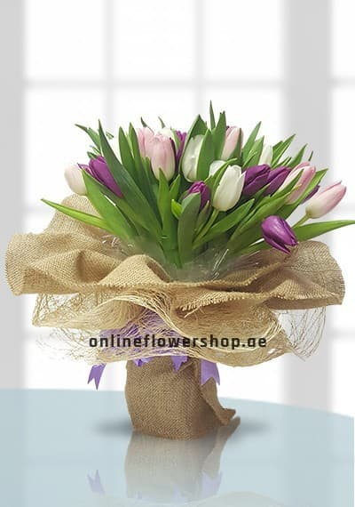 Mixed Tulips Hand-tied